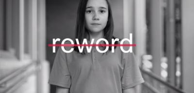 Reword campaign image, young person in monochrome with 'reword' in strikethrough
