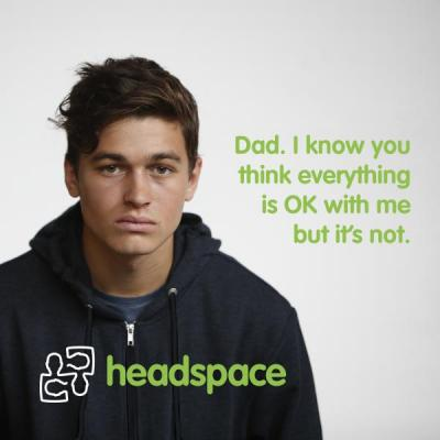 Photo for fathers campaign, young person looking at camera with quote.