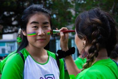 Fundraising page image rainbow face paint